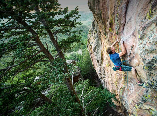 Rock climbing at A-Lodge in Boulder, Colorado